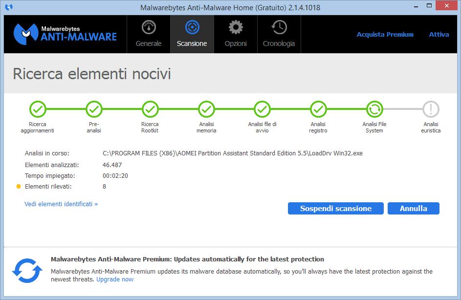 Malwarebytes Anti-Malware 2.1 schermata scansione in corso