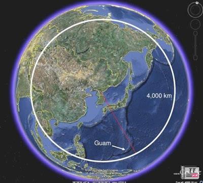 Khoảng cách từ Triều Tiên tới Guam thể hiện trên Goolge