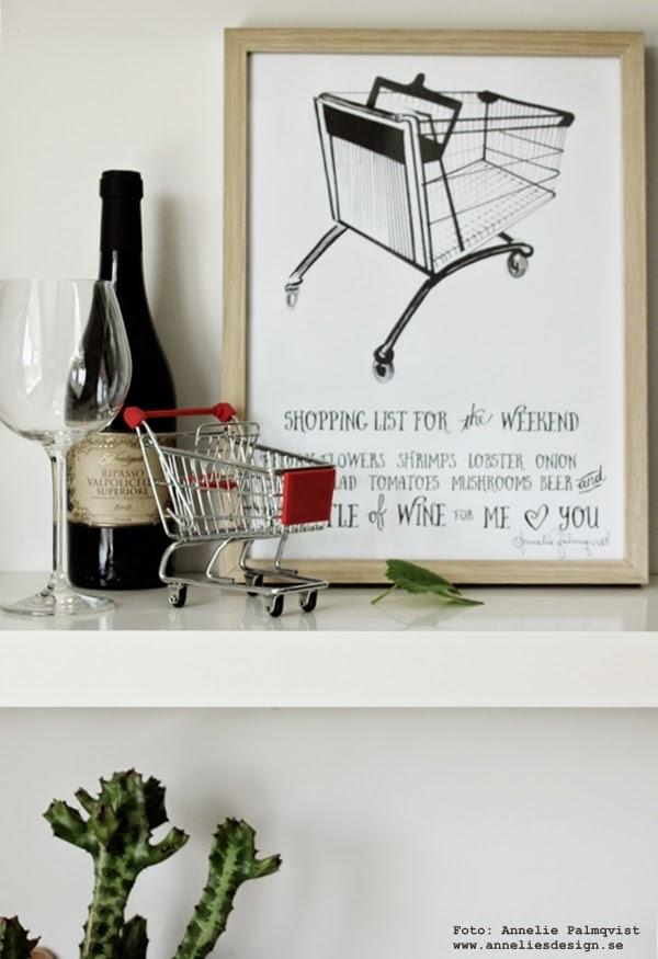 konsttryck, poster, tavla med kundvagn, kundvagnar, shopping, shoppinglista, inköpslista, tavlorna, poster för köket, kökets, industri, vin, gekås, leksak, vinglas, inredning, anneliesdesign, annelies design interior, ram, ramar,