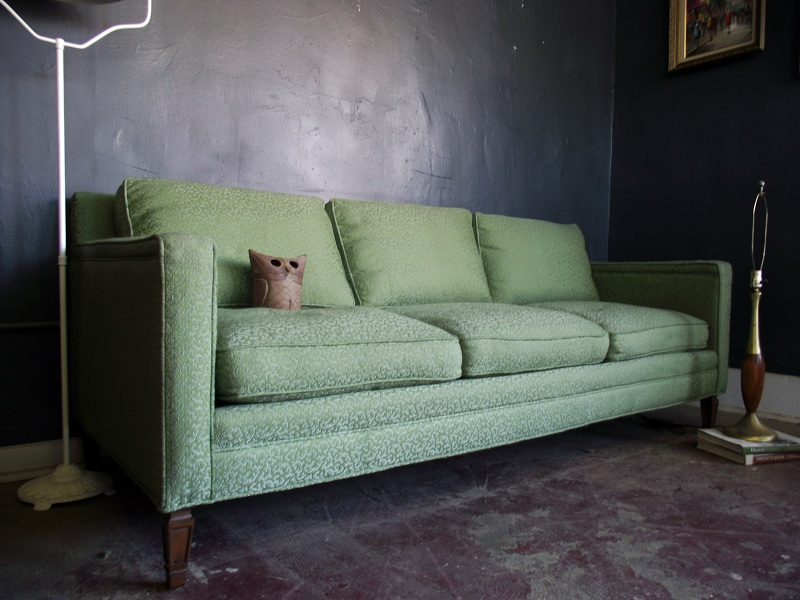 Vintage ground amazing vintage down filled green sofa for Amazing bright green sofa