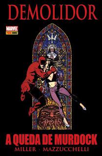 Capa do encadernado da saga de histórias em quadrinhos Demolidor - A queda de Murdock (Panini)