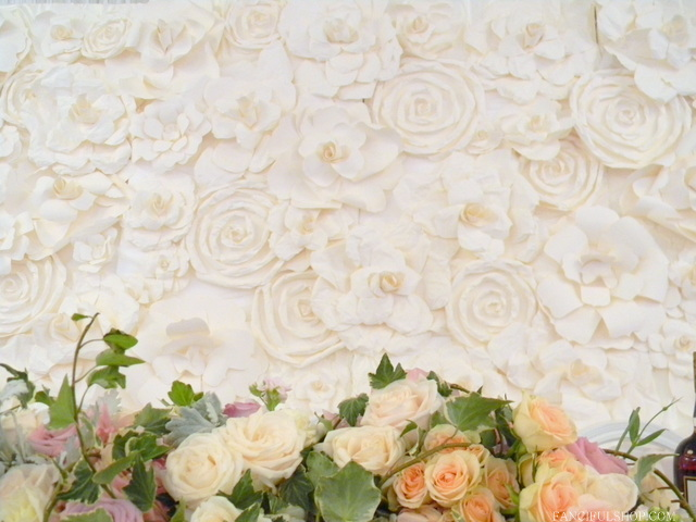 Client wedding beautiful paper flower backdrop fanciful designs beautiful bride angine rented my handmade huge paper flowers to create a backdrop for her sweetheart table mightylinksfo