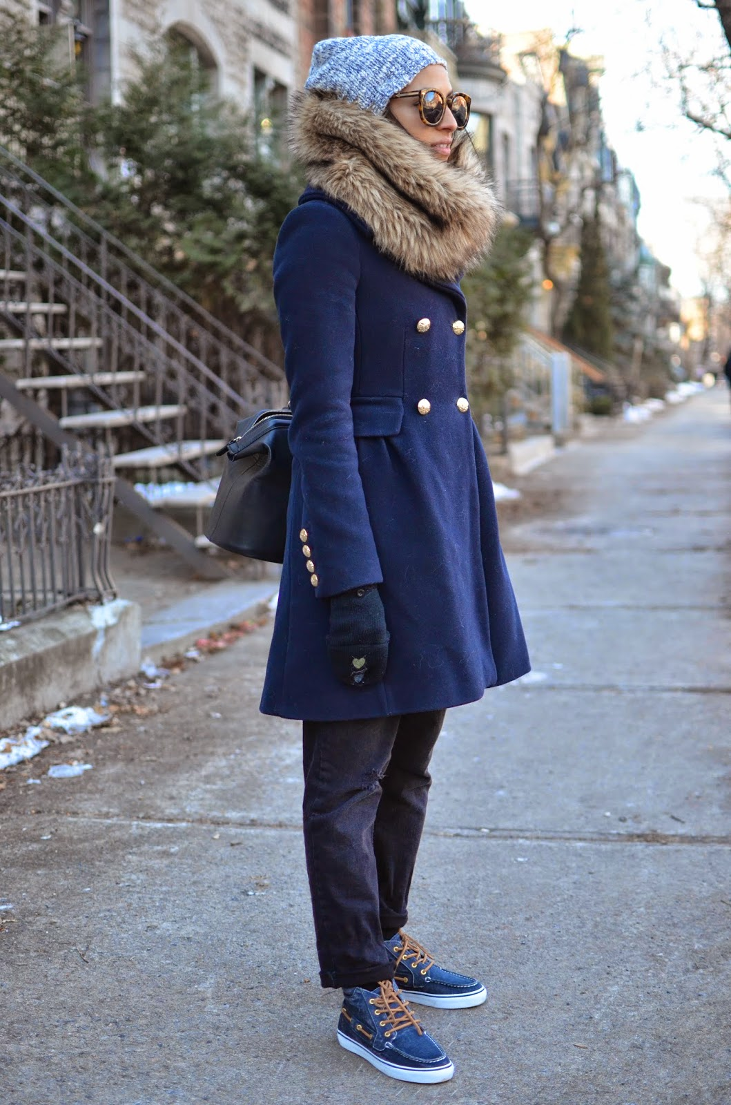 sperry top sider, betty chukka, montreal, snow, SF style in Montreal, snow day outfit