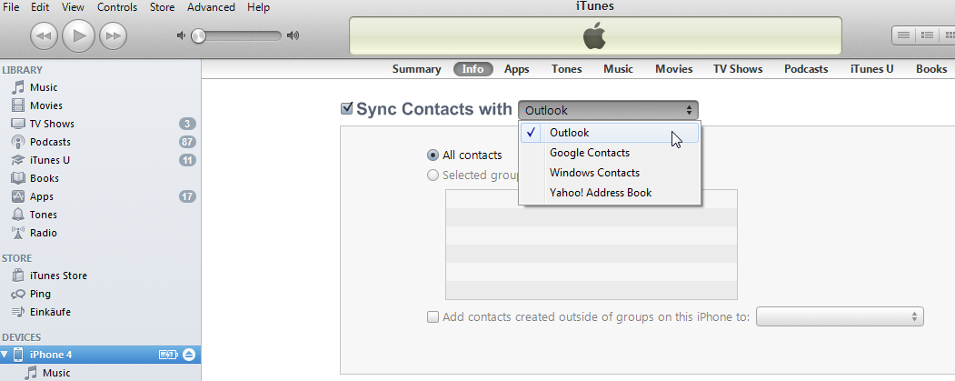 ... iphone contacts or just selected groups once you selected all contacts