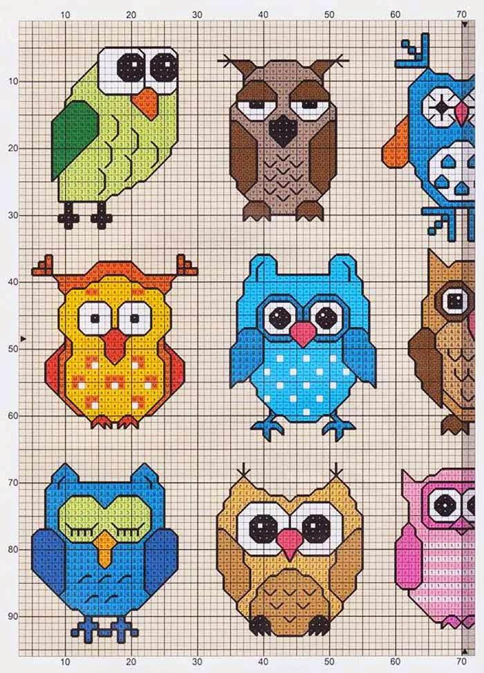 Схема вышивки маленькие совы