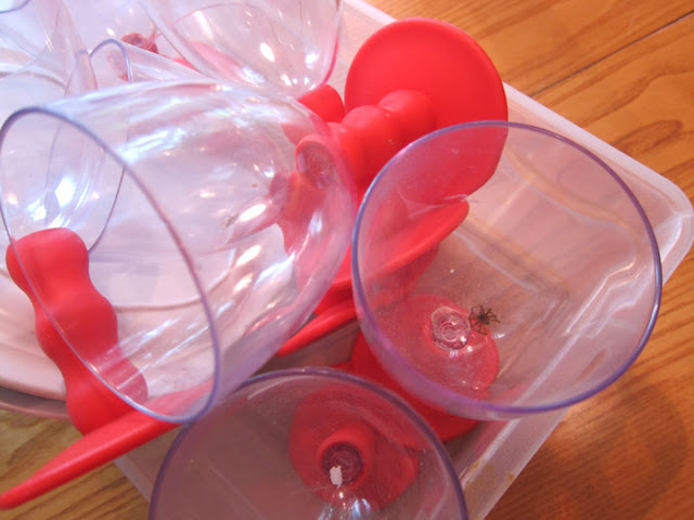 red plastic goblet with spider