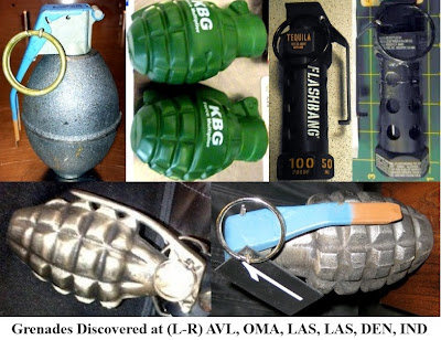 Six inert/novelty/replica grenades were discovered this week: Two at Omaha (OMA), two at Las Vegas (LAS), and one each at Asheville (AVL), and Denver (DEN).