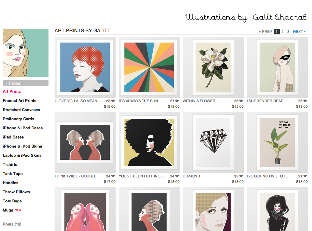 Galitt Illustration Society6 shop