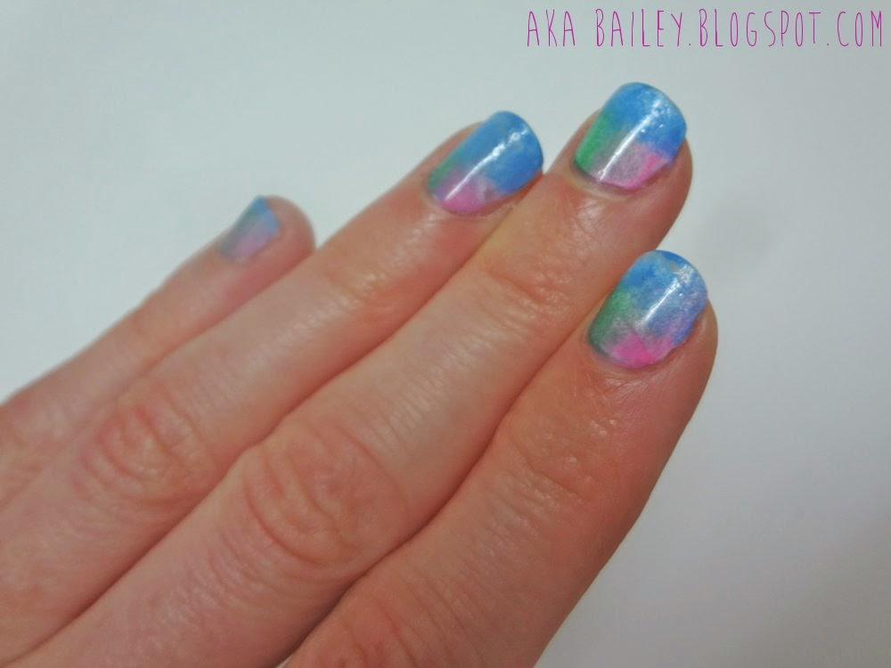 Sponged nail polish, green blue and pink