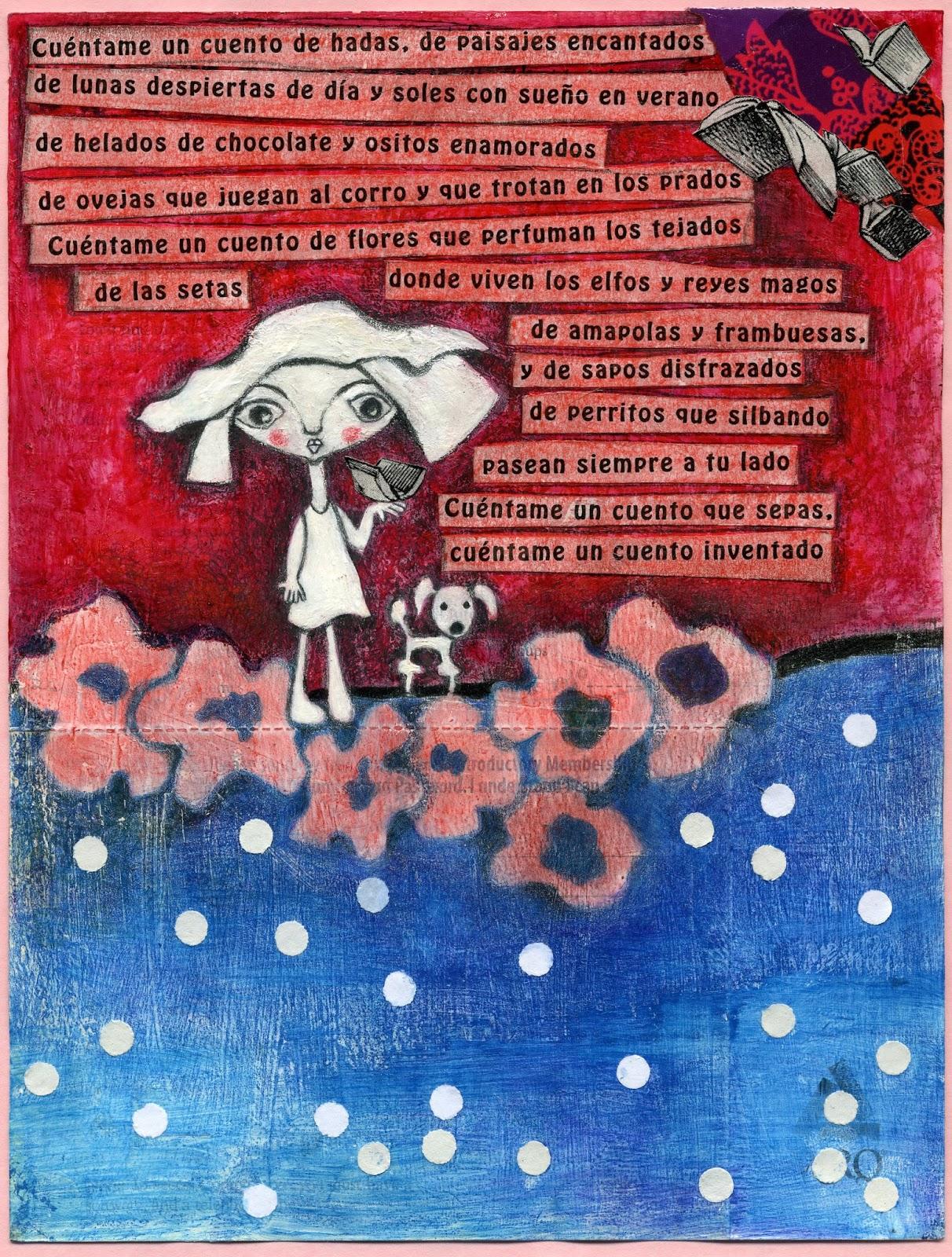 """Cuarta entrega de la Serie """"Poetry"""". Ilustración dedicada a los cuentos, cuentos voladores, cuentos que nos hacen soñar, cuentos que nos comunican alegría.  Cuéntame un cuento de hadas, de paisajes encantados"""
