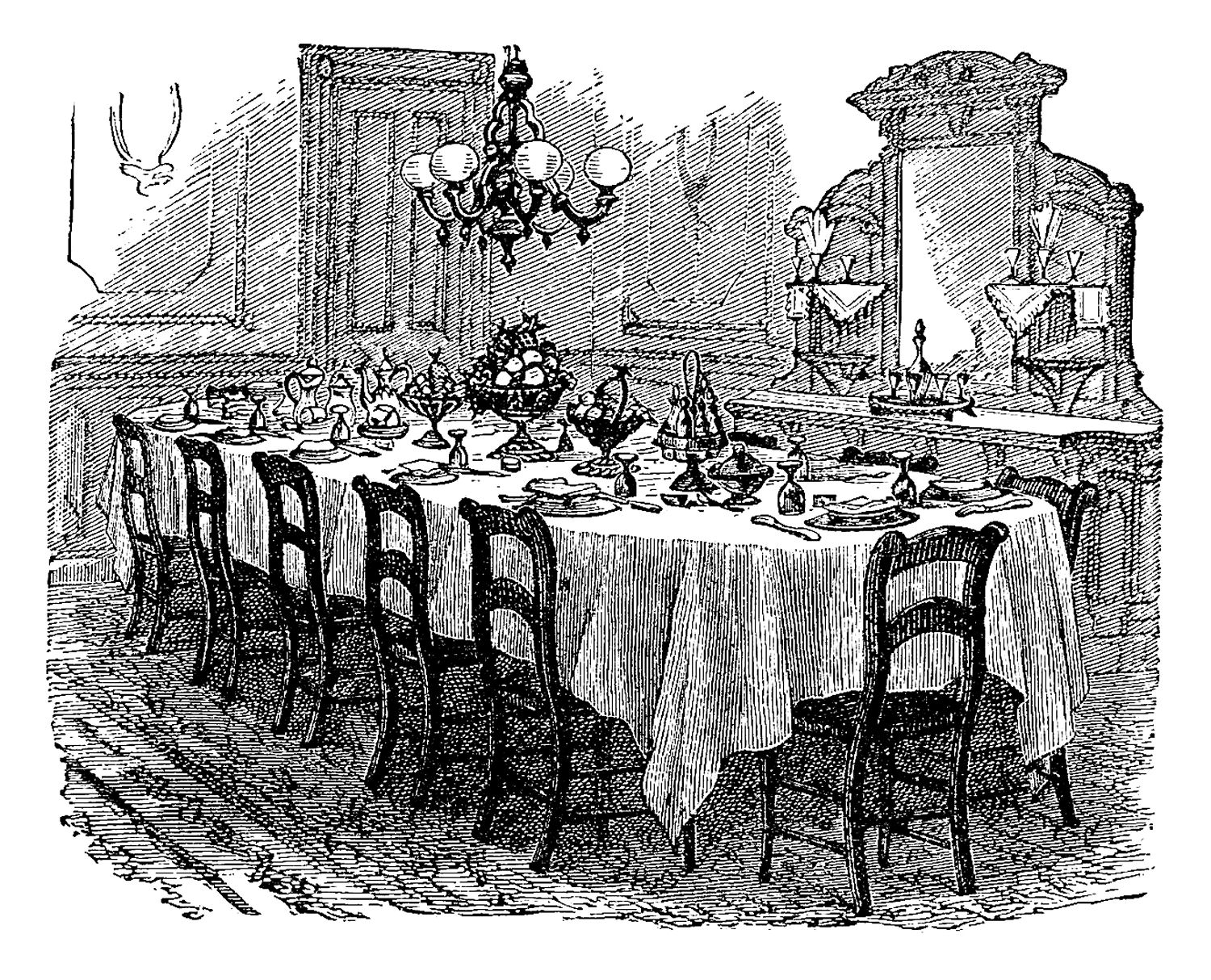 Vintage Graphic Of Victorian Dining Table: Black And White Illustration Of  Decorated Victorian Dining Room