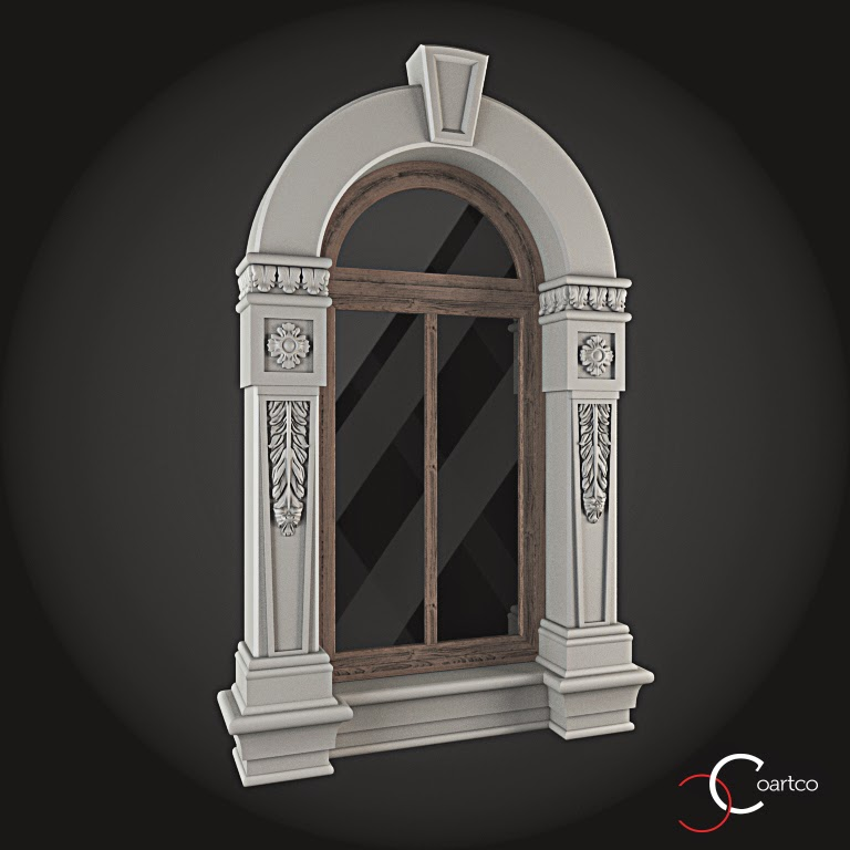 Ornamente Geamuri Exterior, Arcada fatade case cu profile decorative polistiren, profile fatada,  Model Cod: WIN-054