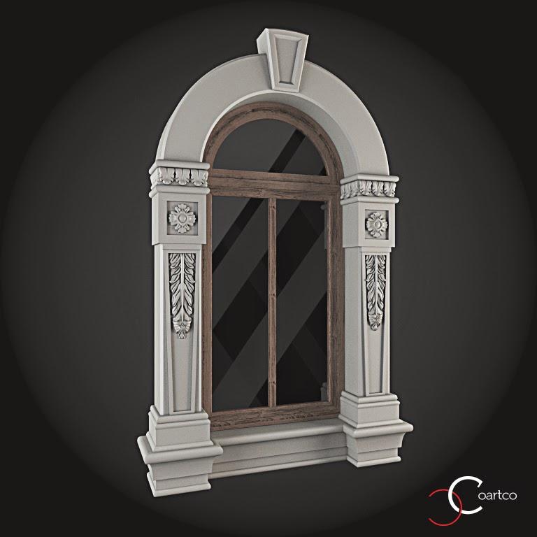 Ornamente Geamuri Exterior, Arcada fatade case cu profile decorative polistiren, profile fatada,  Model Cod: WIN-054