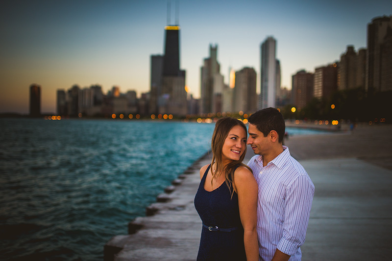 Chicago North Avenue Beach Sunset Engagement Photo