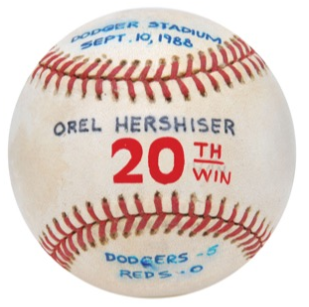 Important Game-Used Baseballs from Orel Hershiser's Career at Grey Flannel Auctions