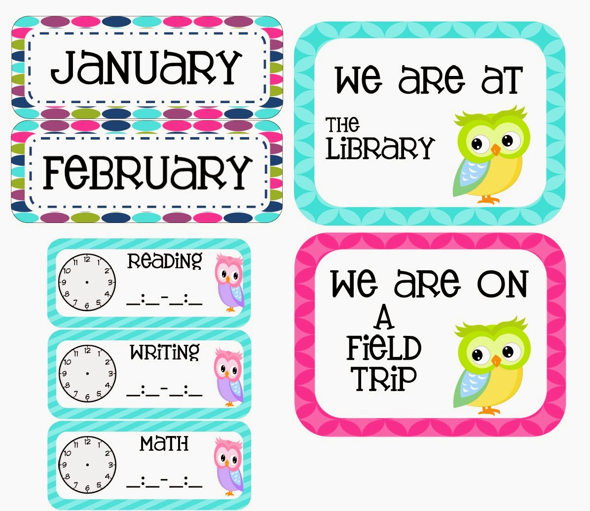 http://www.teacherspayteachers.com/Product/Owl-Themed-Classroom-Set-763462
