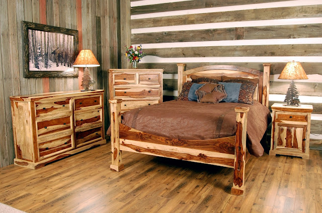 simple log bedroom sets with beauitful painting in the wall