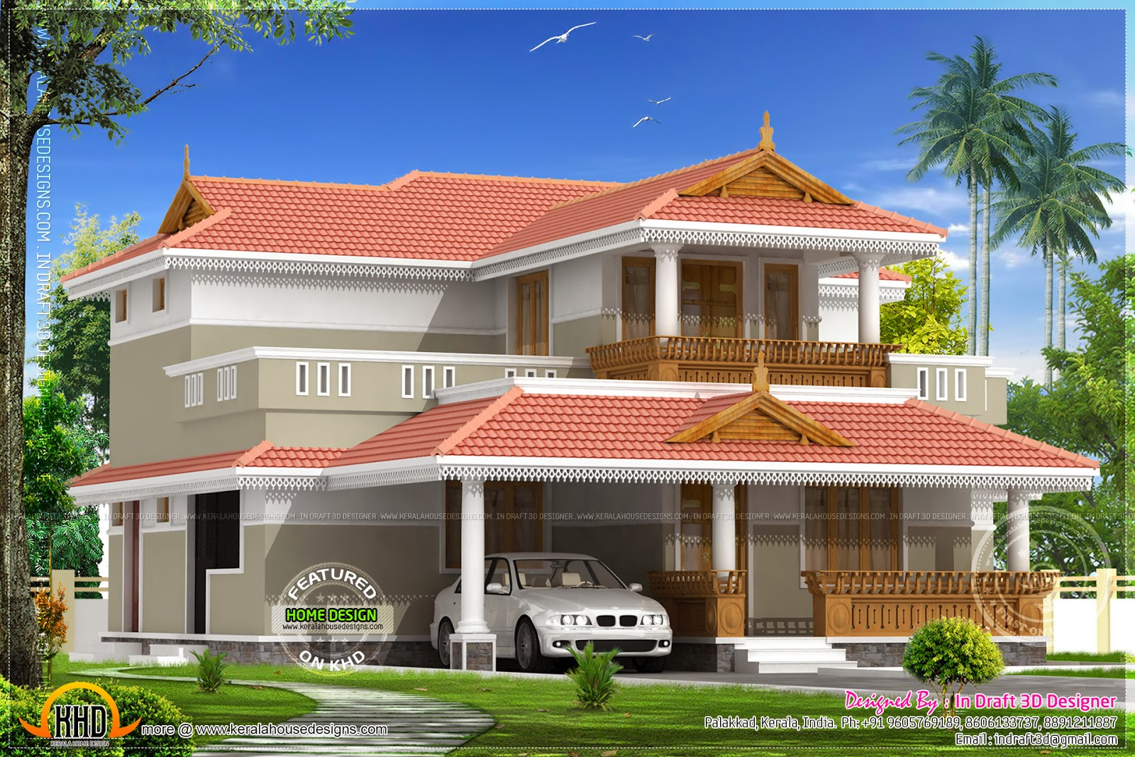 Kerala model house 2226 square feet kerala home design for Kerala house model plan