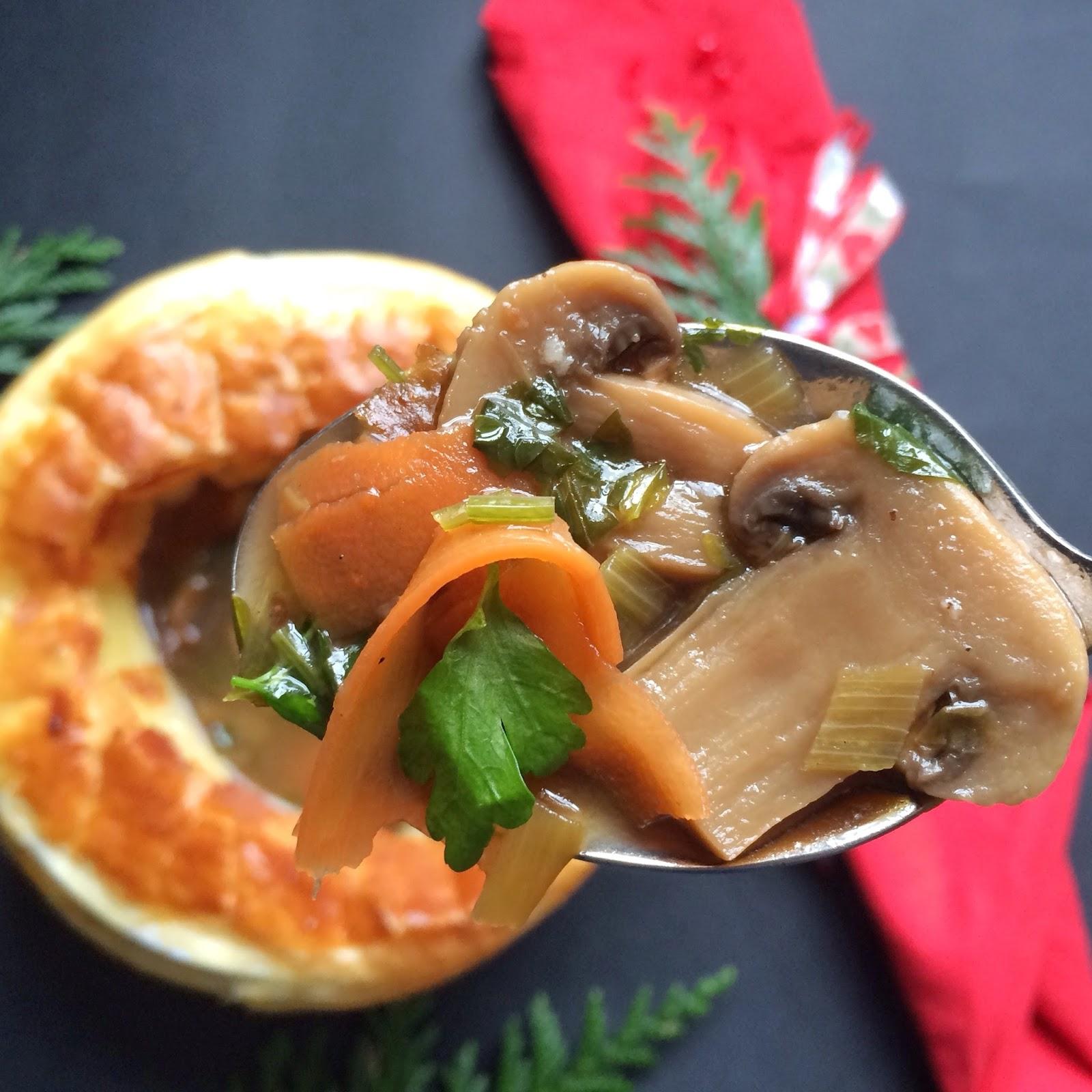 zupa grzybowa, ptysiu mietowy