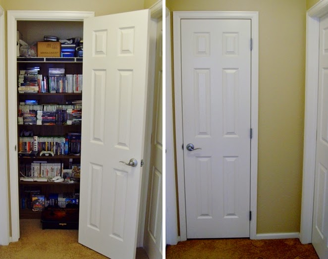 Storing video games and movies in coat closet