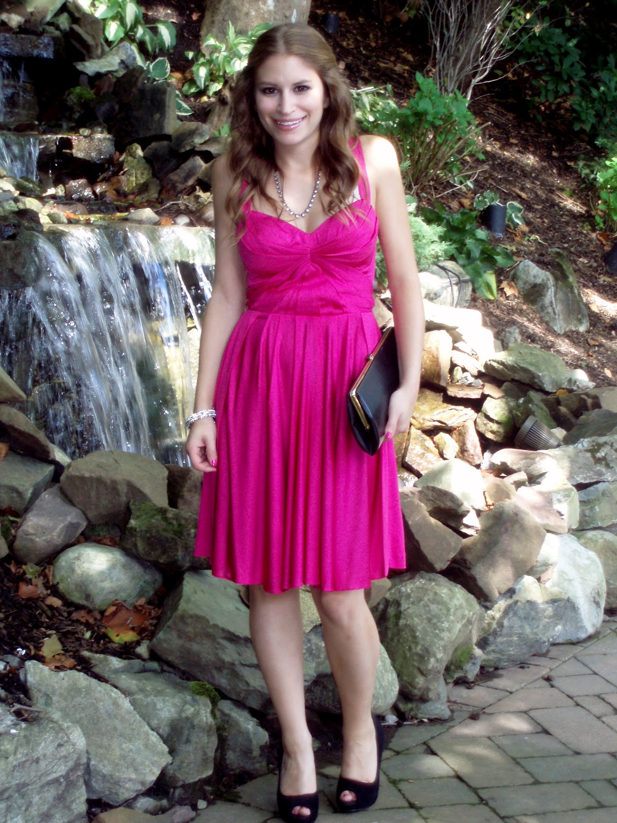 The tiny heart wedding guest attire hot pink for Rent dress for wedding guest