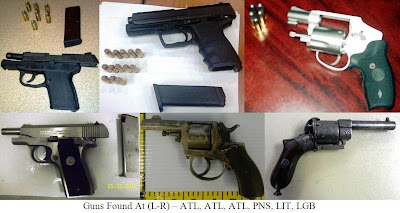 5 loaded firearms and an antique firearm.