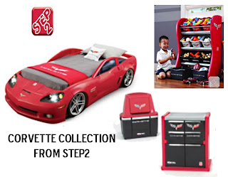 corvette toddler to twin bed with lights new at step2
