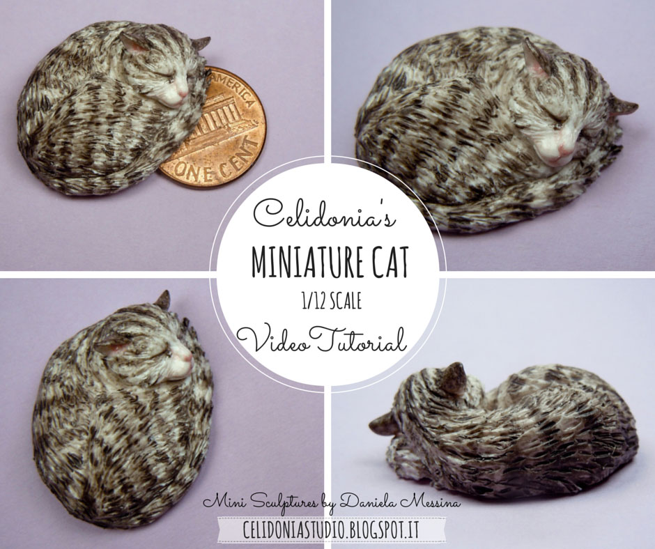 Miniature Cat in 1/12 Scale from Polymer Clay - Tutorial by Celidonia