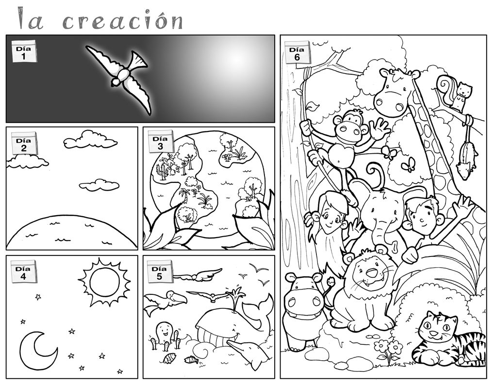 miscosasyyo: La Creación (Génesis 1, 1-31). Dibujos para colorear en ...
