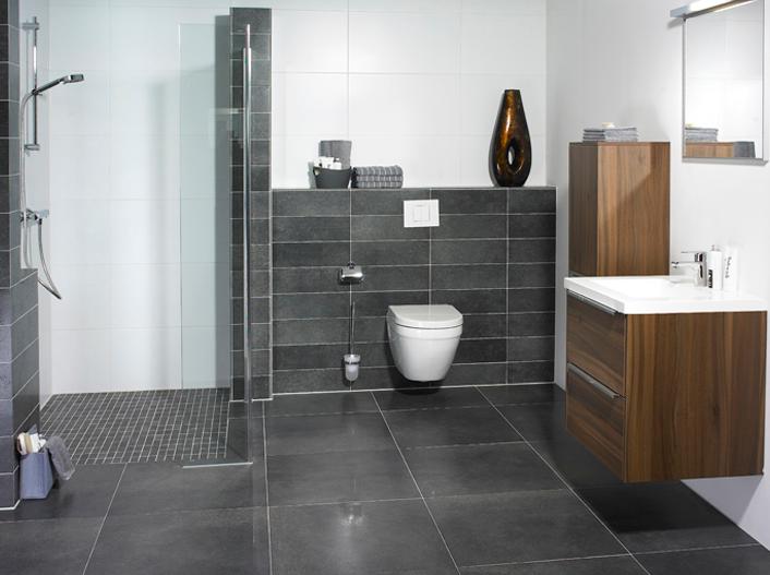 antraciet vloertegels keuken: mosa tegels. witte vloertegels, Badkamer