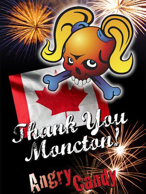 This the Angry Candy logo on a poster for a Canada Day concert.
