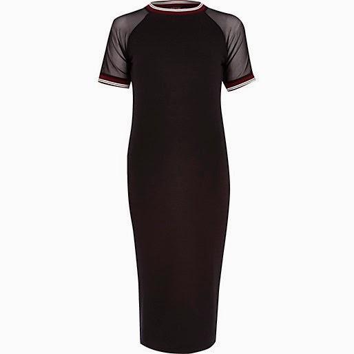 black mesh sleeve dress