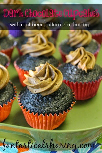 Dark Chocolate Cupcakes with Root Beer Buttercream Frosting | Rich, moist cupcakes with dark chocolate and coffee paired with fluffy root beer buttercream - YUM! #chocolate #rootbeer #dessert #cupcakes #recipe