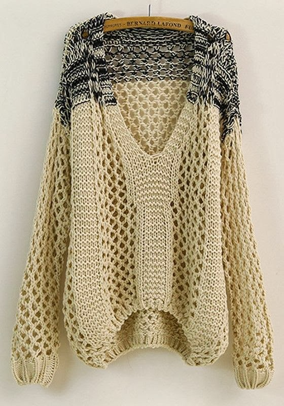 Beige Patchwork Hollow-out V-neck Loose Thick Cotton Sweater