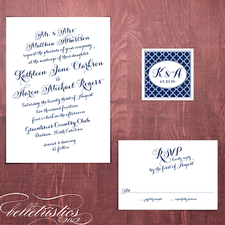 printable diagonal script wedding invitation design quatrefoil pattern