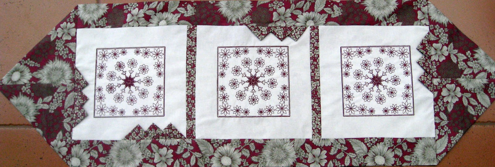 Vicki 39 s fabric creations rangoli embroidered not quite for 10 minute table runner pattern