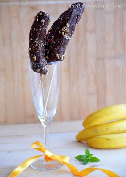 Mrożone banany w czekoladzie