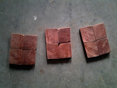 small end-grain tiles cross cut from an aged hardwood timber, possibly Black Walnut, formed into cute little bookmatched coasters, bookmatched walnut