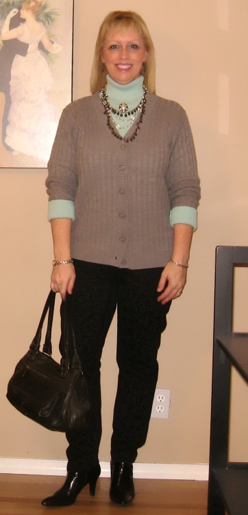 gray cardigan with aqua