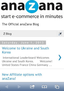 Screen capture of anaZana blog on iPhone