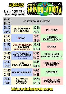 Mundo Idiota, 2015, Festival, Horarios, Cartel
