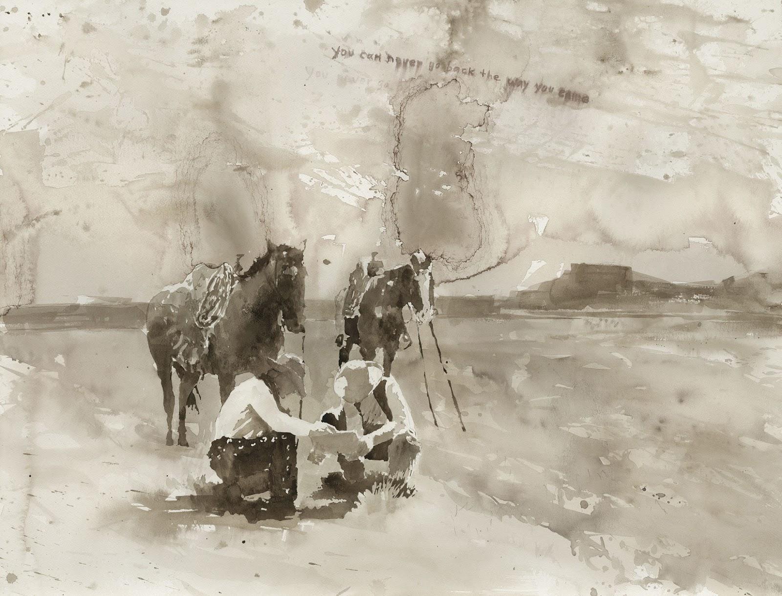 dos vaqueros miran mapa apeados del caballo en acuarela