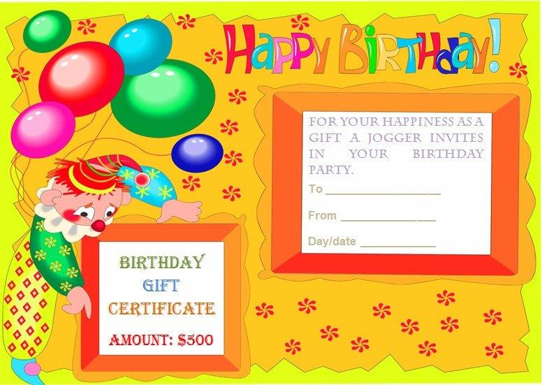Birthday Gift Certificate Templates – Happy Birthday Certificate Templates