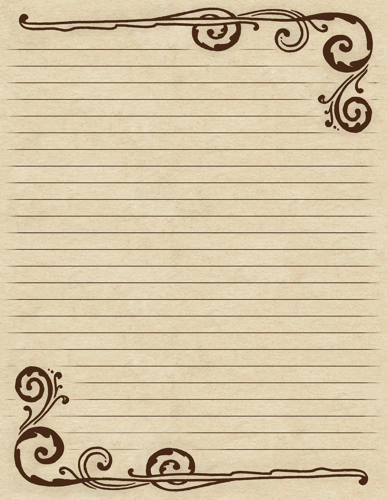 ... +Paper+You+Can+Print Lilac & Lavender: Swirling Border & Lined Paper