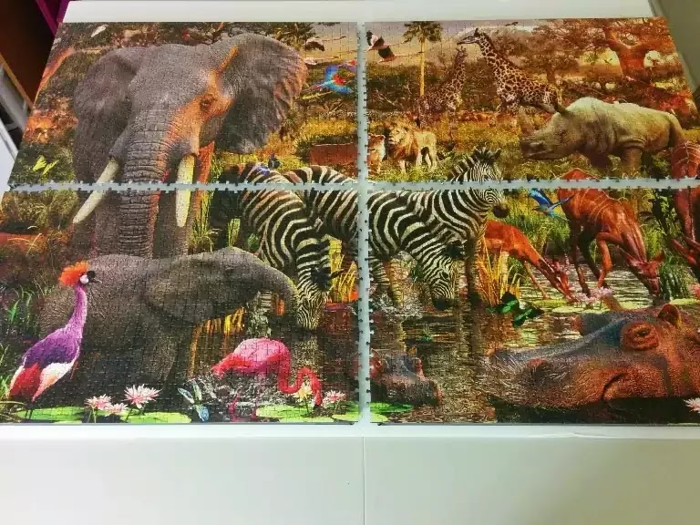 How to mount a large jigsaw puzzle in without glue in panels
