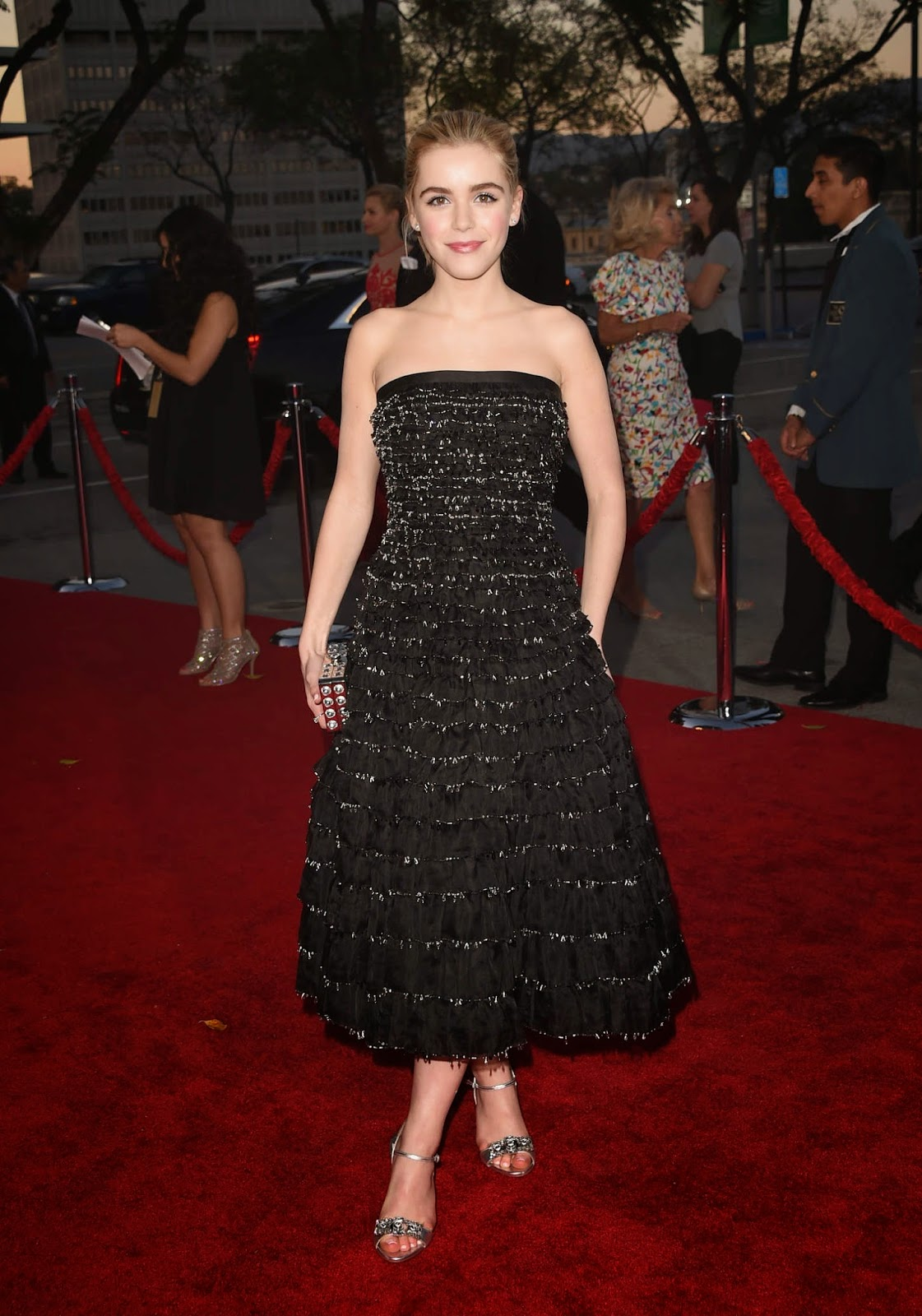 Kiernan Shipka in a strapless dress at the AMC 'Mad Men' Black and Red Ball in LA