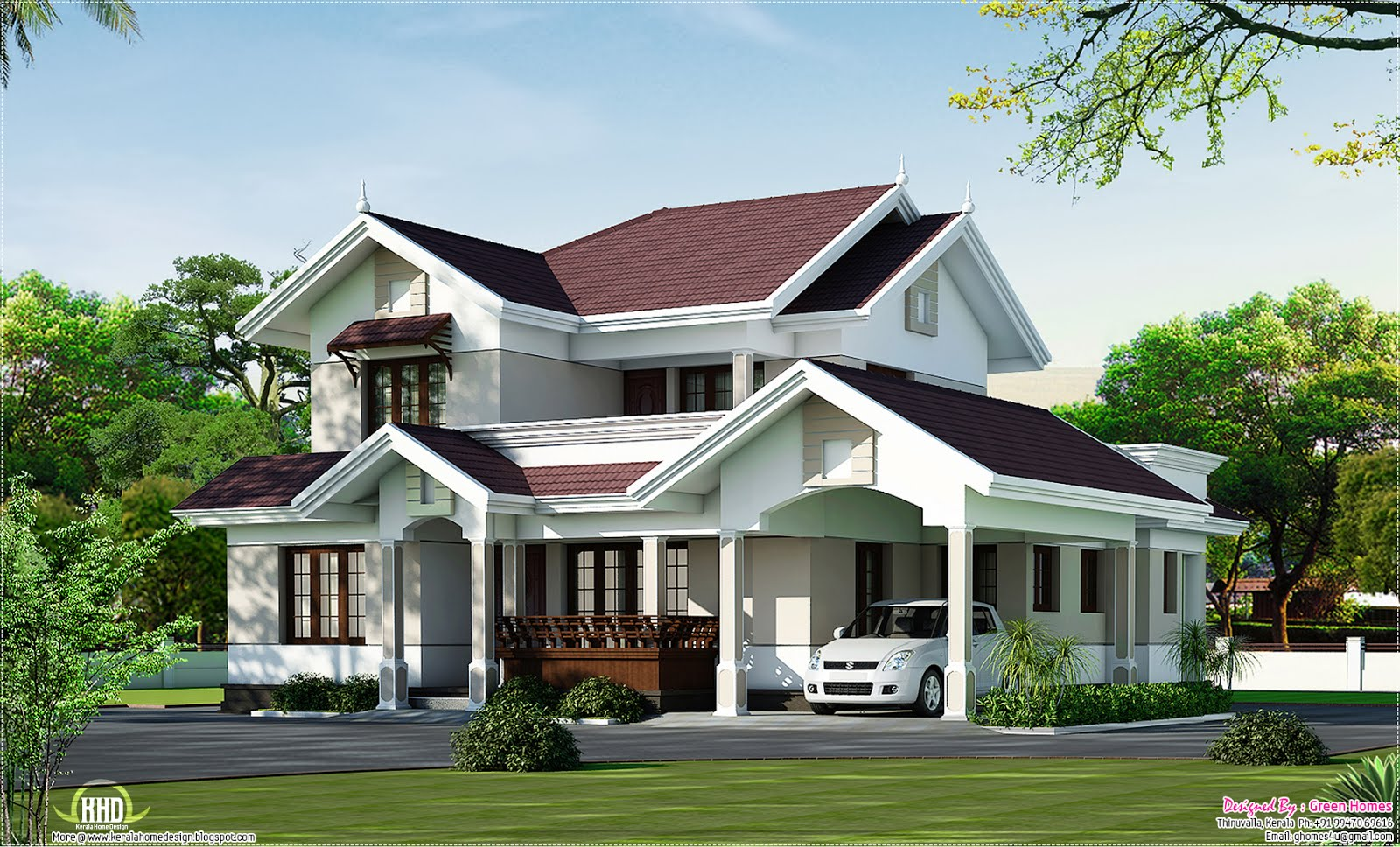 Beautiful villa elevation in 2000 kerala home for Home designs for kerala
