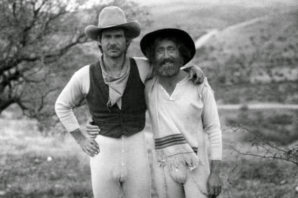 """Harrison Ford y Gene Wilder en el set de """"El rabino y el pistolero"""" en 1979."""
