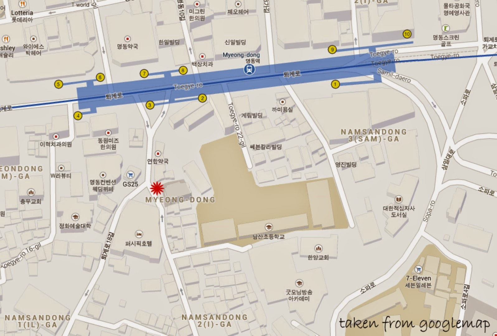 Map for Two Two Chicken in Myeong-dong Seoul