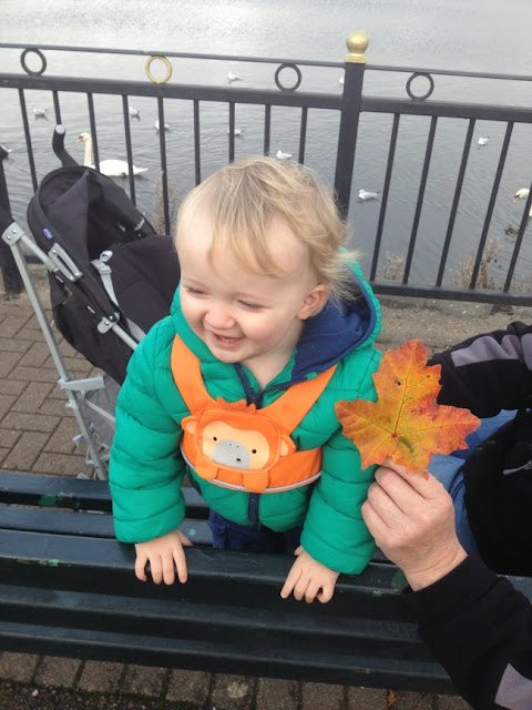 Toddler laughing whilst stood on park bench